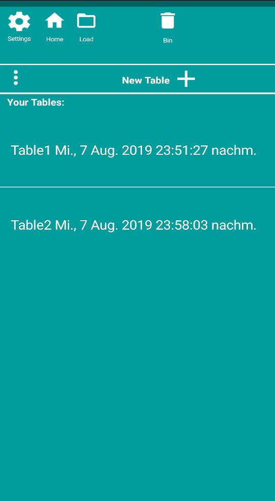 EasyTableNotes App Screenshot. List of tables in cyan.