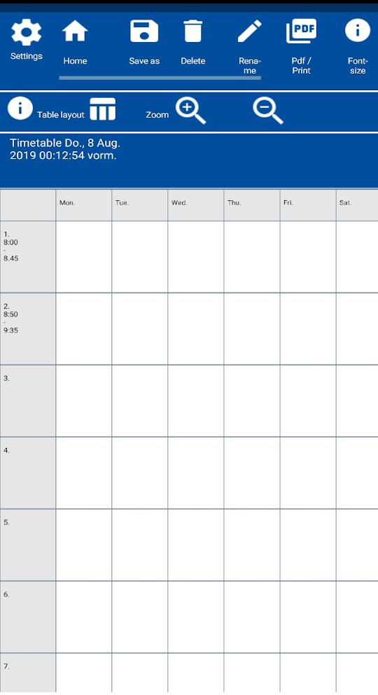 EasyTableNotes App Screenshot. Simple Timetable.